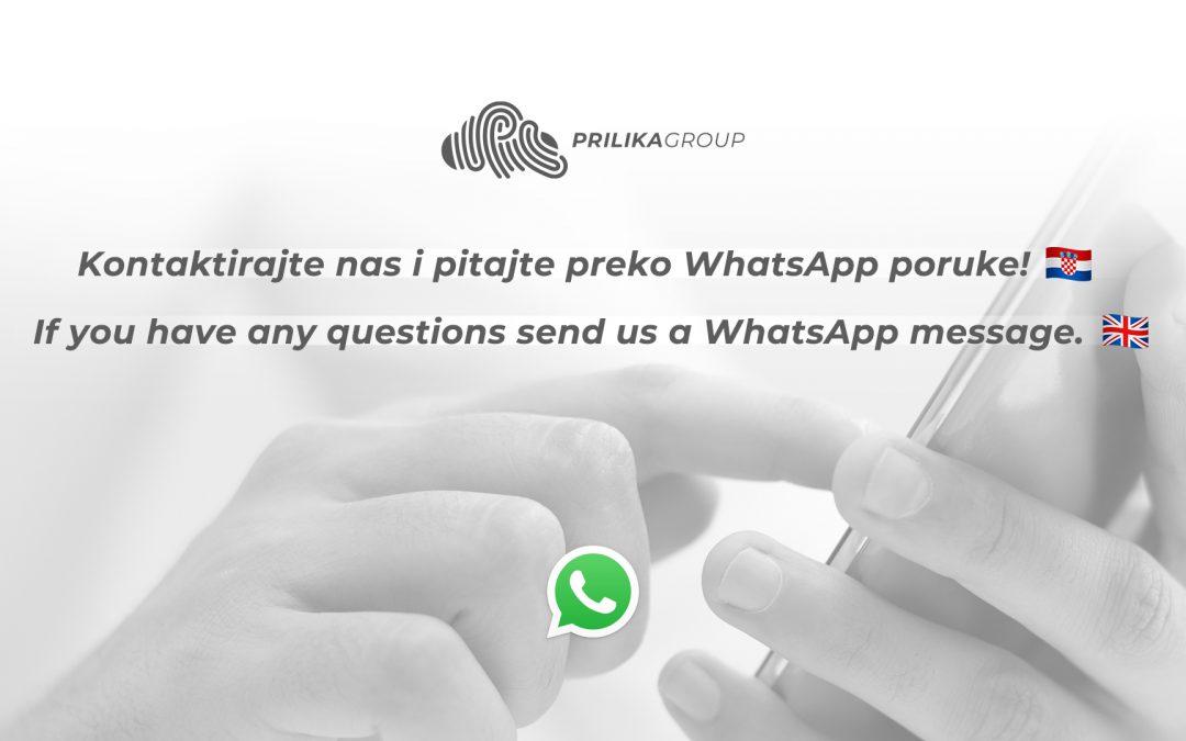 Prilika Grupa od danas koristi WhatsApp Business profil, pitajte nas putem poznate aplikacije